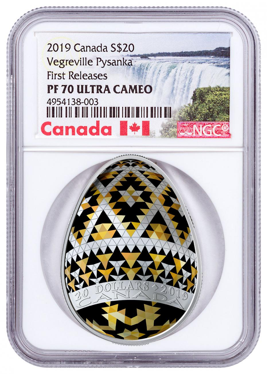 2019 Canada Ukrainian Pysanka - Vegreville Egg Shaped 1 oz Silver Colorized Proof $20 Coin NGC PF70 UC FR Exclusive Canada Label