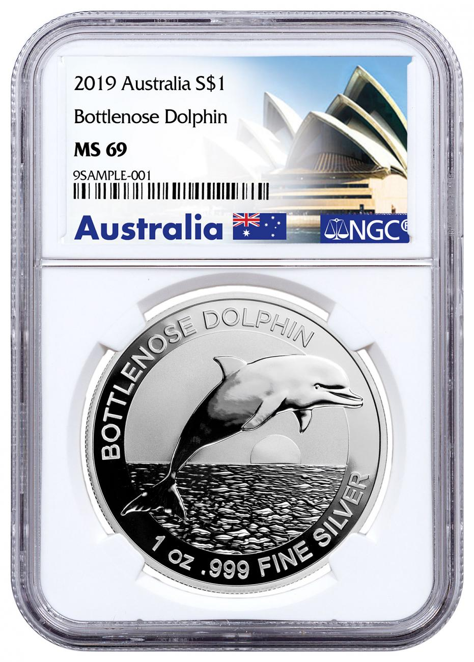 2019 Australia 1 oz Silver Dolphin $1 Coin NGC MS69 Exclusive Australia Label