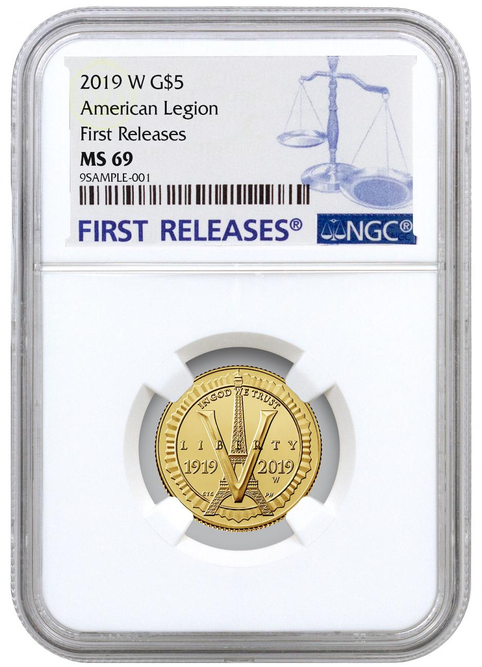 2019-W American Legion 100th Anniversary $5 Gold Commemorative Coin NGC MS69 FR