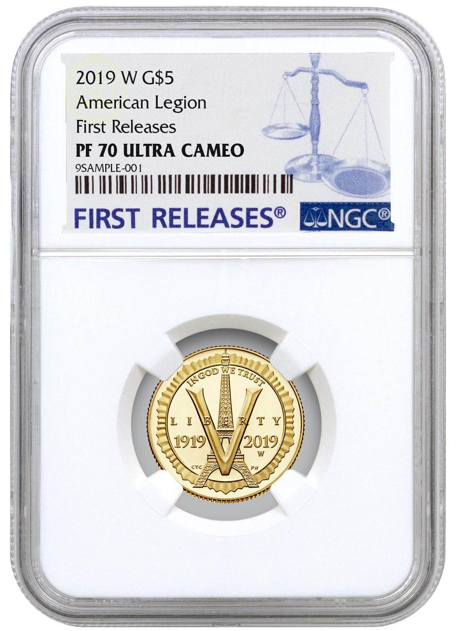 2019-W American Legion 100th Anniversary $5 Gold Commemorative Proof Coin NGC PF70 UC FR
