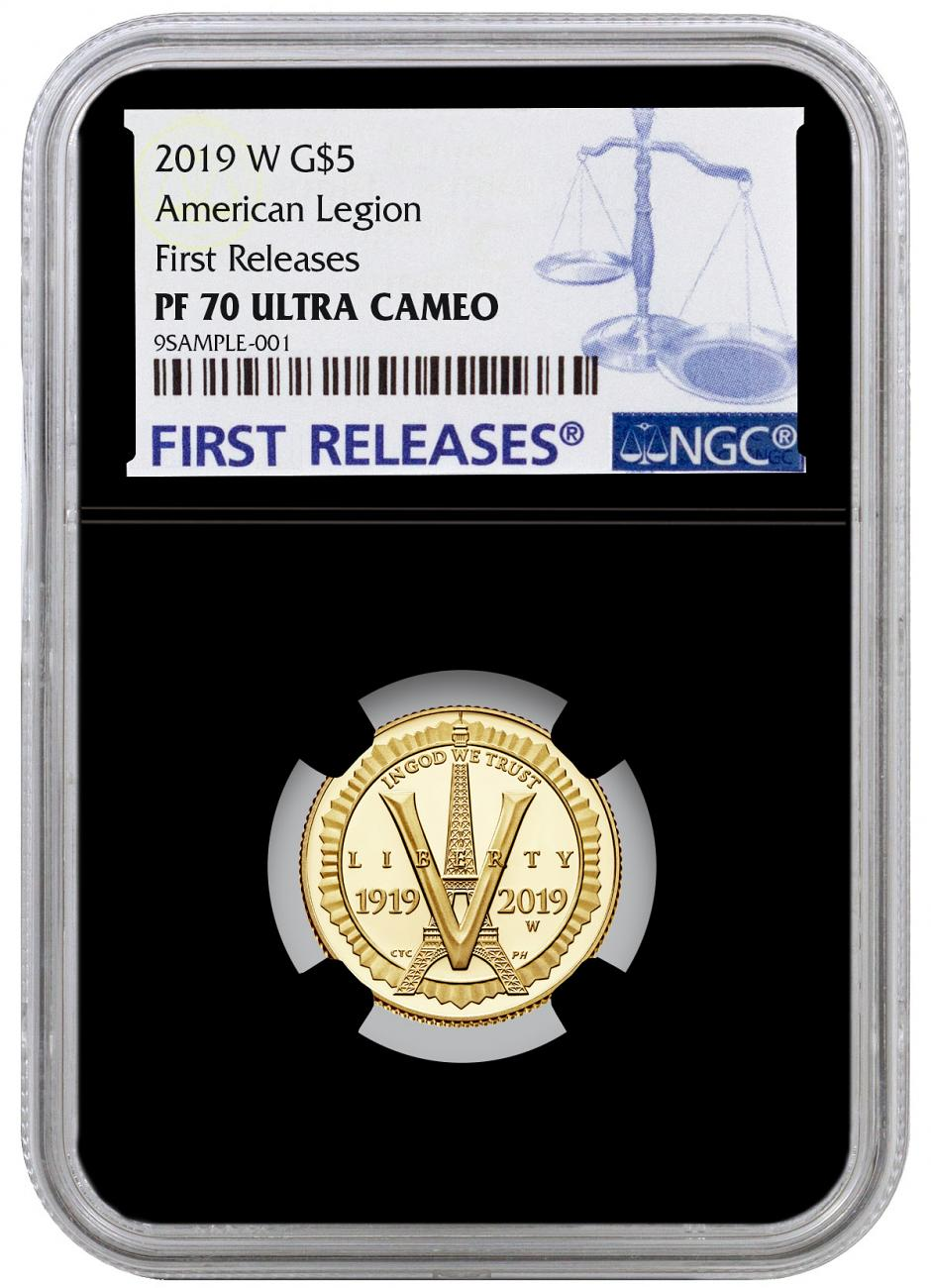 2019-W American Legion 100th Anniversary $5 Gold Commemorative Proof Coin NGC PF70 UC FR Black Core Holder