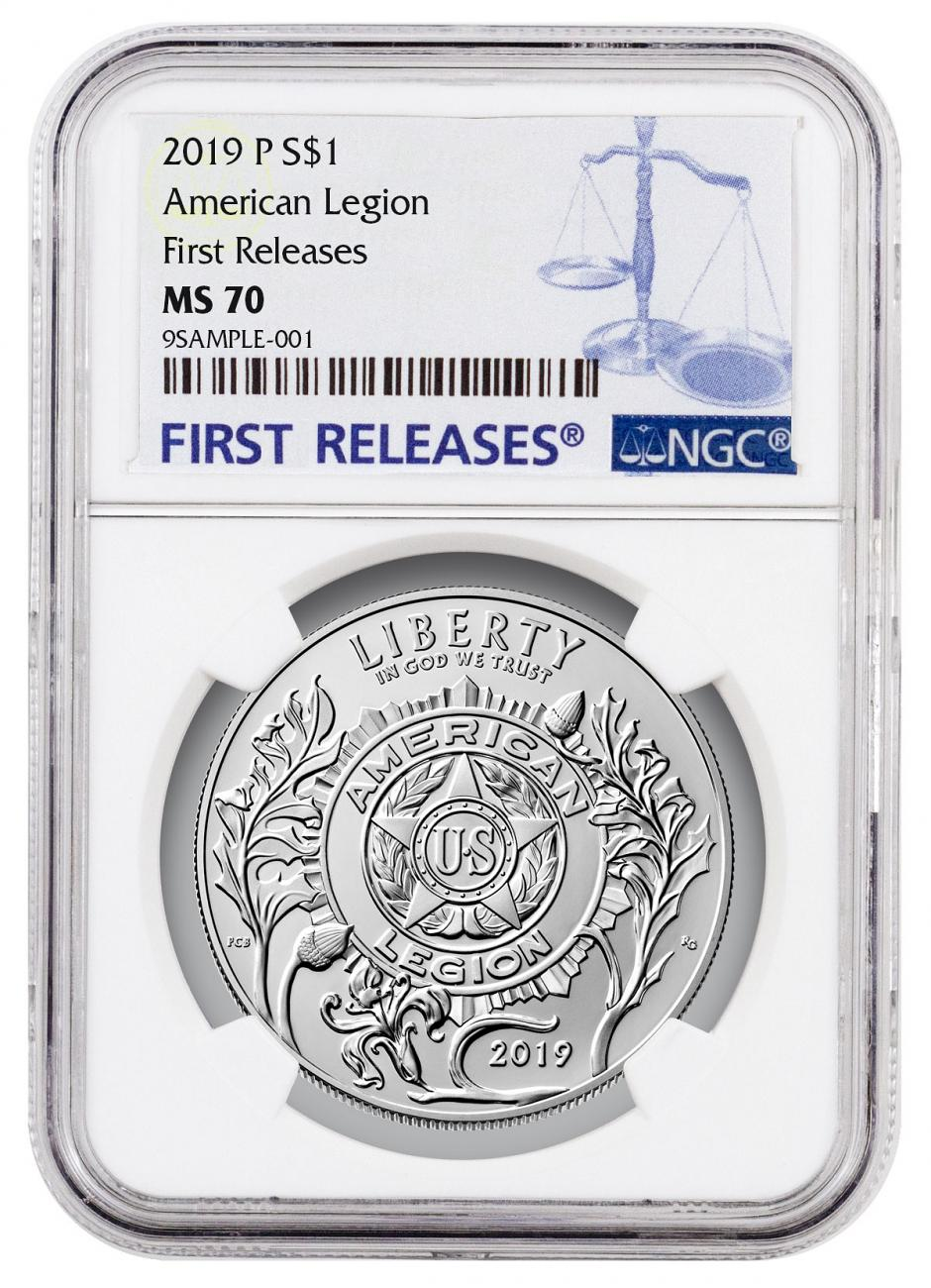 2019-P American Legion 100th Anniversary Commemorative Silver Dollar Coin NGC MS70 FR