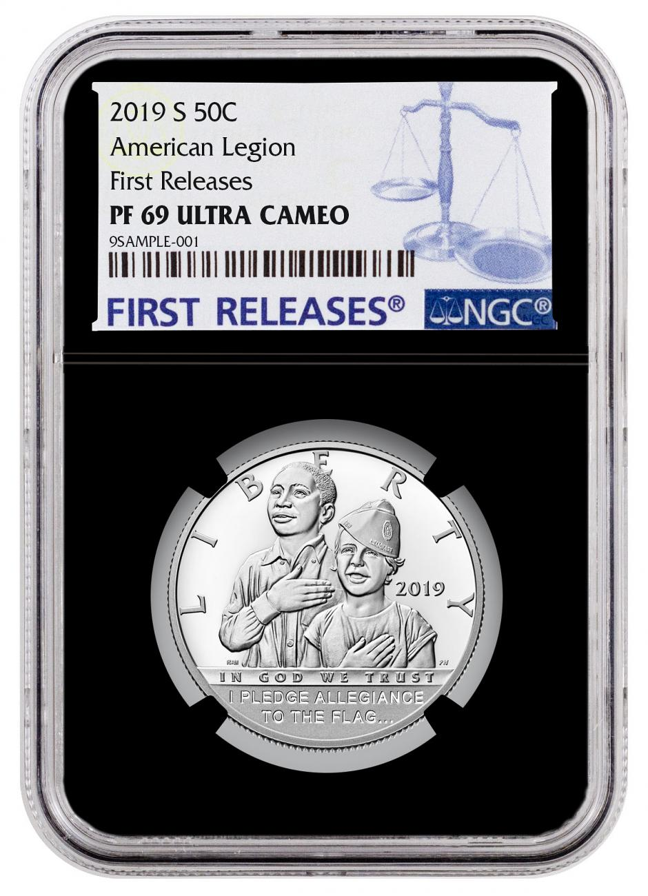 2019-S American Legion 100th Anniversary Commemorative Clad Half Dollar Proof Coin NGC PF69 UC FR Black Core Holder