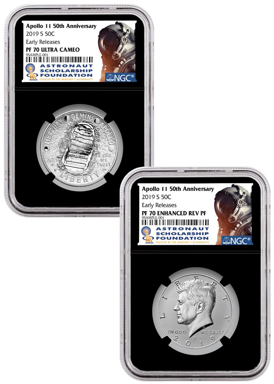 2019-S US Apollo 11 50th Anniversary 2-Coin Commemorative Clad Half Dollar Proof + Enhanced Reverse Proof Set NGC PF70 ER Black Core Holder Astronaut Scholarship Foundation Label