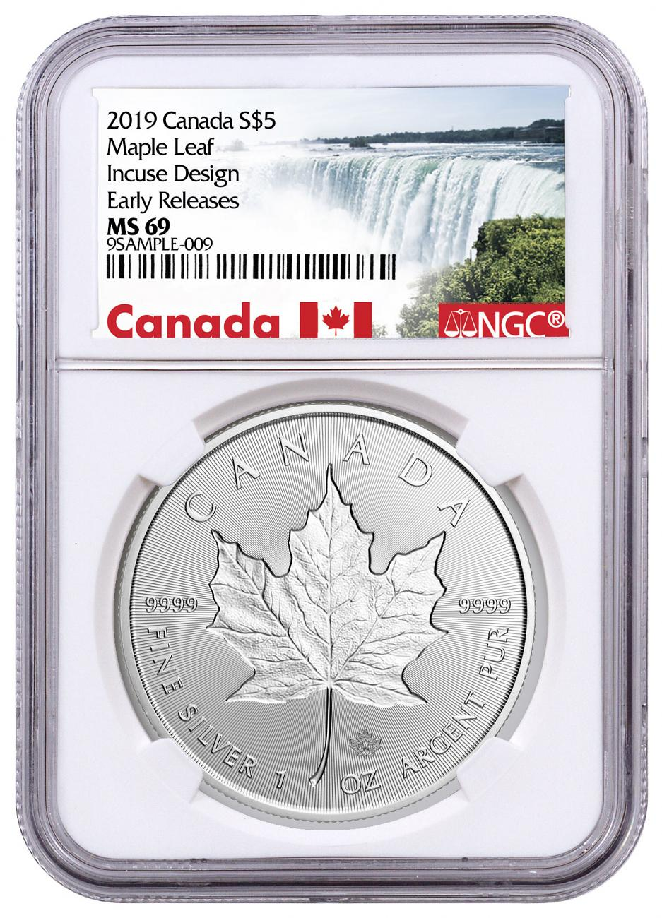 2019 Canada 1 oz Silver Maple Leaf - Incuse $5 Coin NGC MS69 ER Exclusive Canada Label