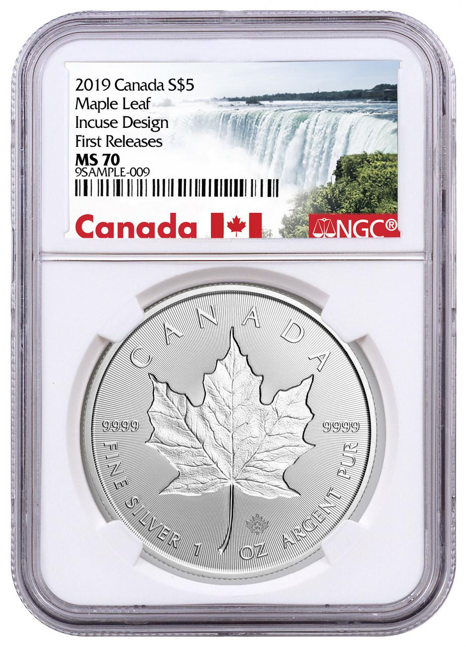 2019 Canada 1 oz Silver Maple Leaf - Incuse $5 Coin NGC MS70 FR Exclusive Canada Label