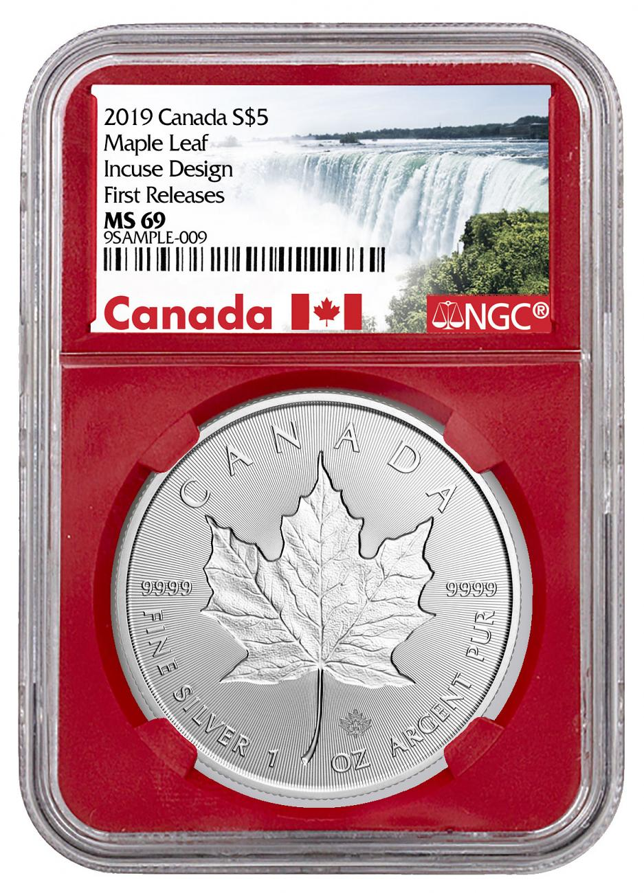 2019 Canada 1 Oz Silver Maple Leaf Incuse 5 Coin Ngc