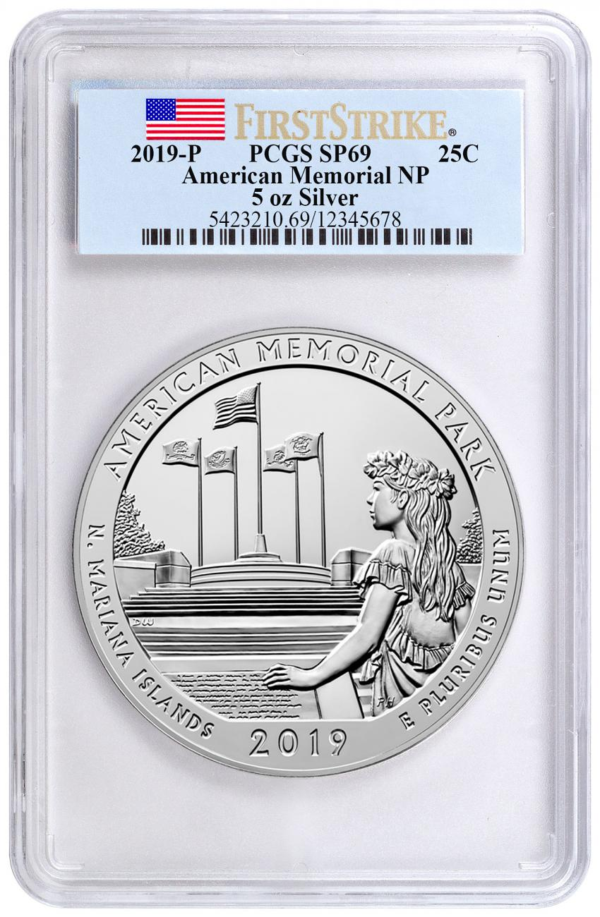 2019-P American Memorial Park 5 oz. Silver America the Beautiful Specimen Coin PCGS SP69 FS Flag Label