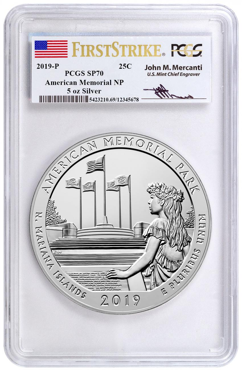 2019-P American Memorial Park 5 oz. Silver America the Beautiful Specimen Coin PCGS SP70 FS Mercanti Label