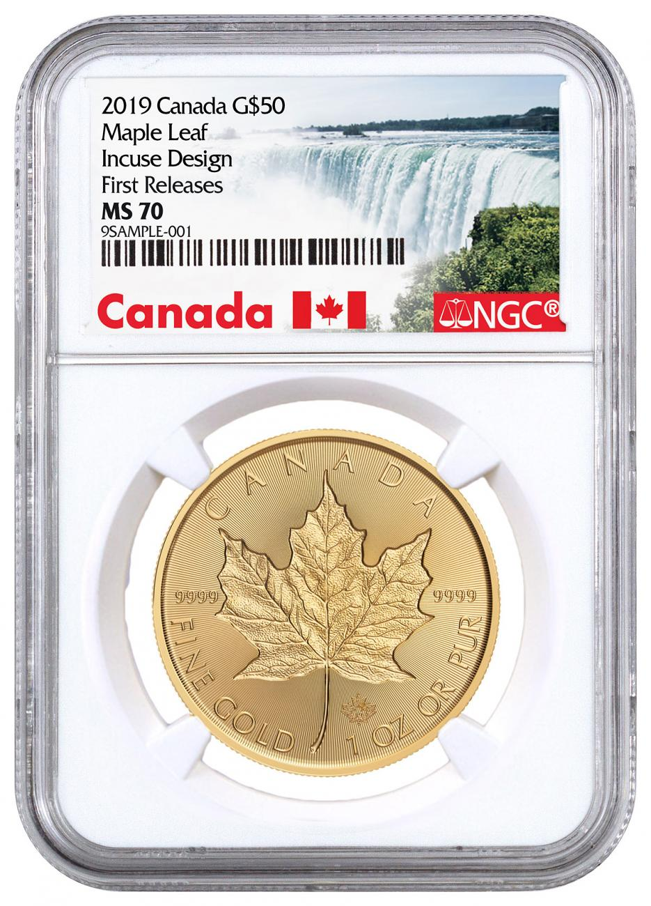 2019 Canada 1 oz Gold Maple Leaf - Incuse $50 Coin NGC MS70 FR Exclusive Canada Label