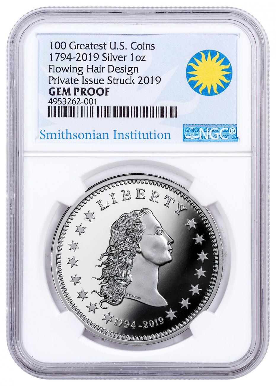1794-2019 Smithsonian - America's First Silver Dollar 1 oz Silver Proof Medal NGC GEM Proof