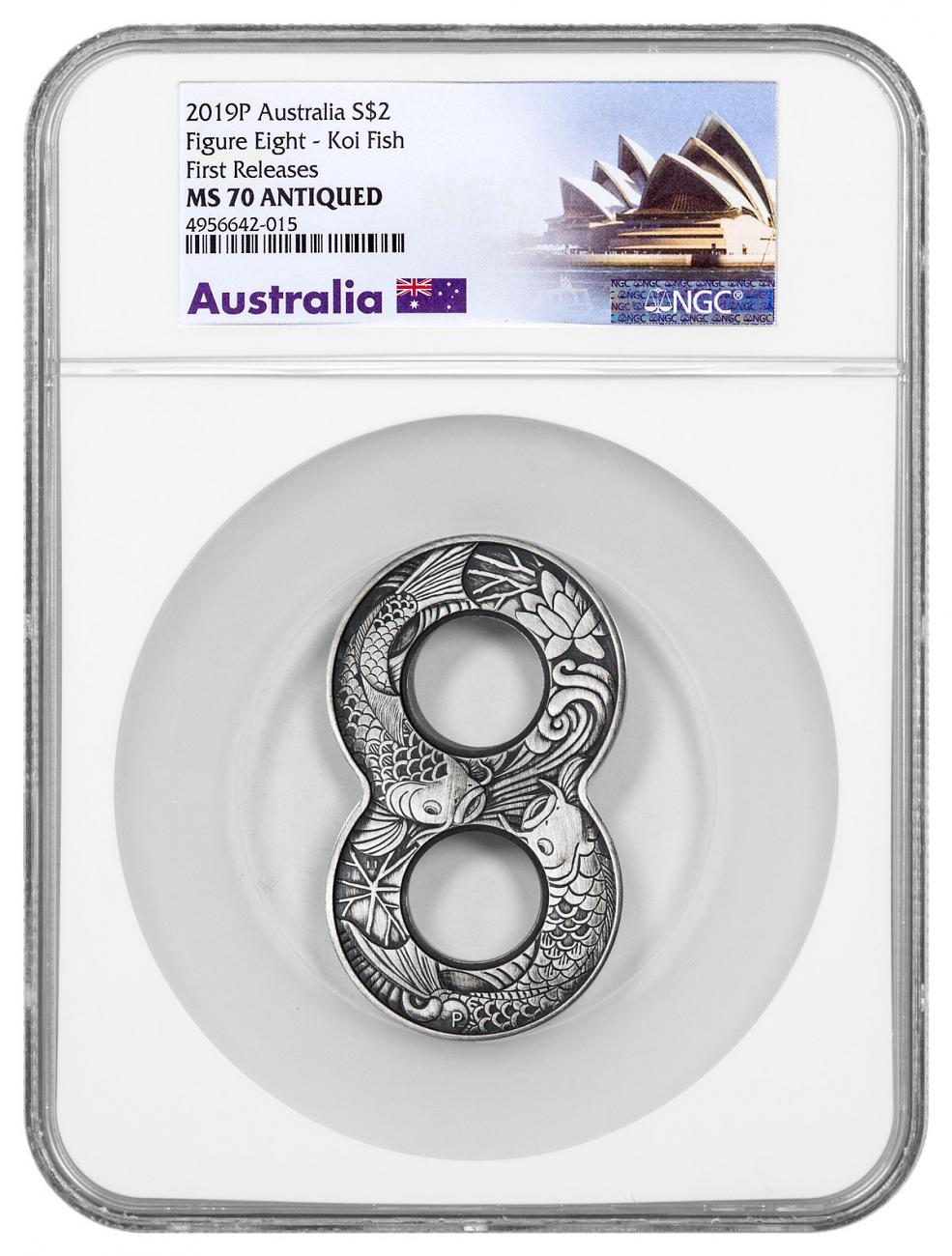 2019-P Australia Figure Eight Koi Fish Figure Eight Shaped 2 oz Silver Antiqued $2 Coin NGC MS70 FR Australia Opera House Label