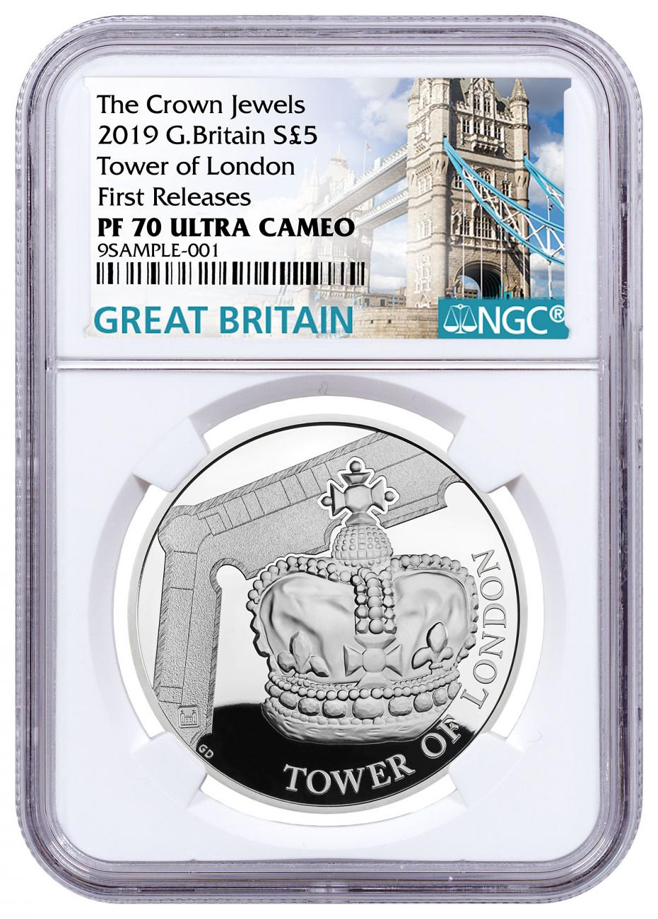 2019 Great Britain Tower of London - Crown Jewels Silver Proof £5 Coin NGC PF70 UC FR Tower Bridge Label