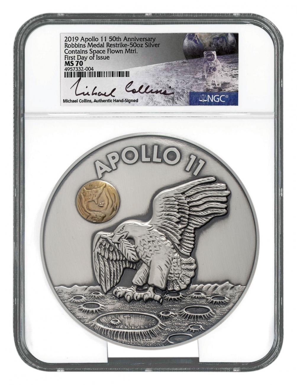 1969-2019 Apollo 11 50th Anniversary Robbins Medals 50 oz Silver Medal with Space-Flown Alloy Scarce and Unique Coin Division NGC MS70 FDI Michael Collins Signed Label