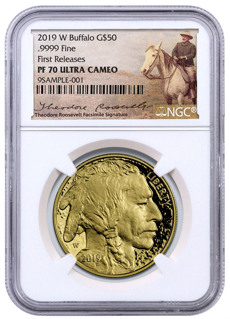 2019-W 1 oz Gold Buffalo Proof $50 Coin NGC PF70 UC FR Exclusive Teddy Roosevelt Label