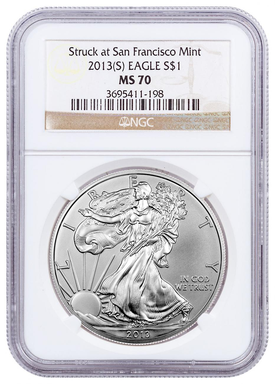 2013-(S) Silver Eagle Struck at San Francisco NGC MS70