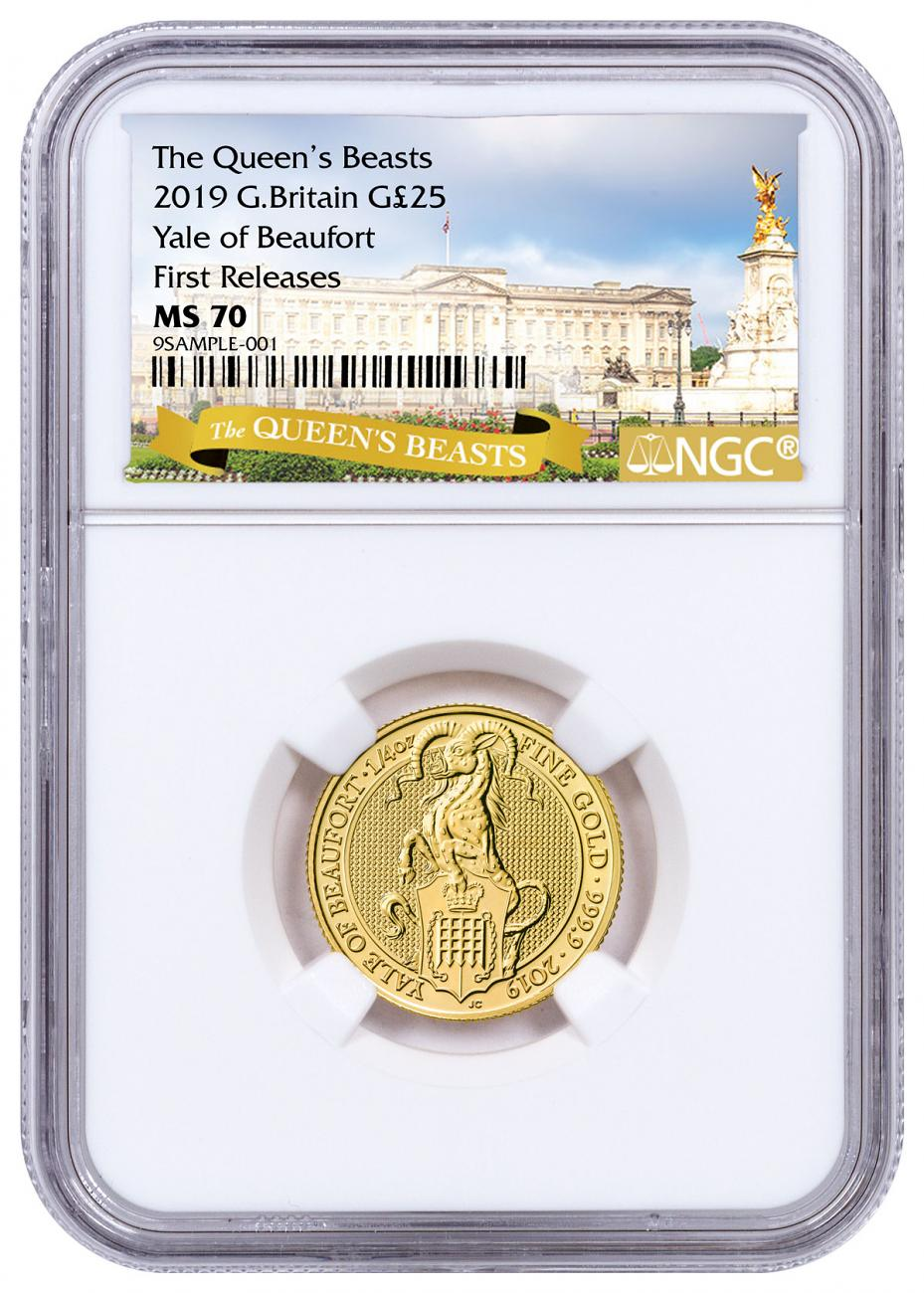 2019 Great Britain 1/4 oz Gold Queen's Beasts - The Yale of Beaufort £25 Coin NGC MS70 FR