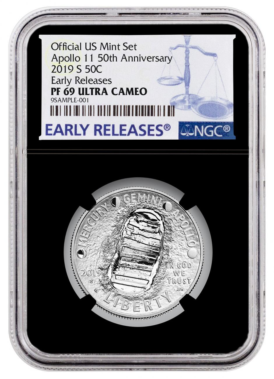 2019-S US Apollo 11 50th Anniversary Commemorative Clad Half Dollar Proof Coin From Apollo 11 Half Dollar Set NGC PF69 ER Black Core Holder