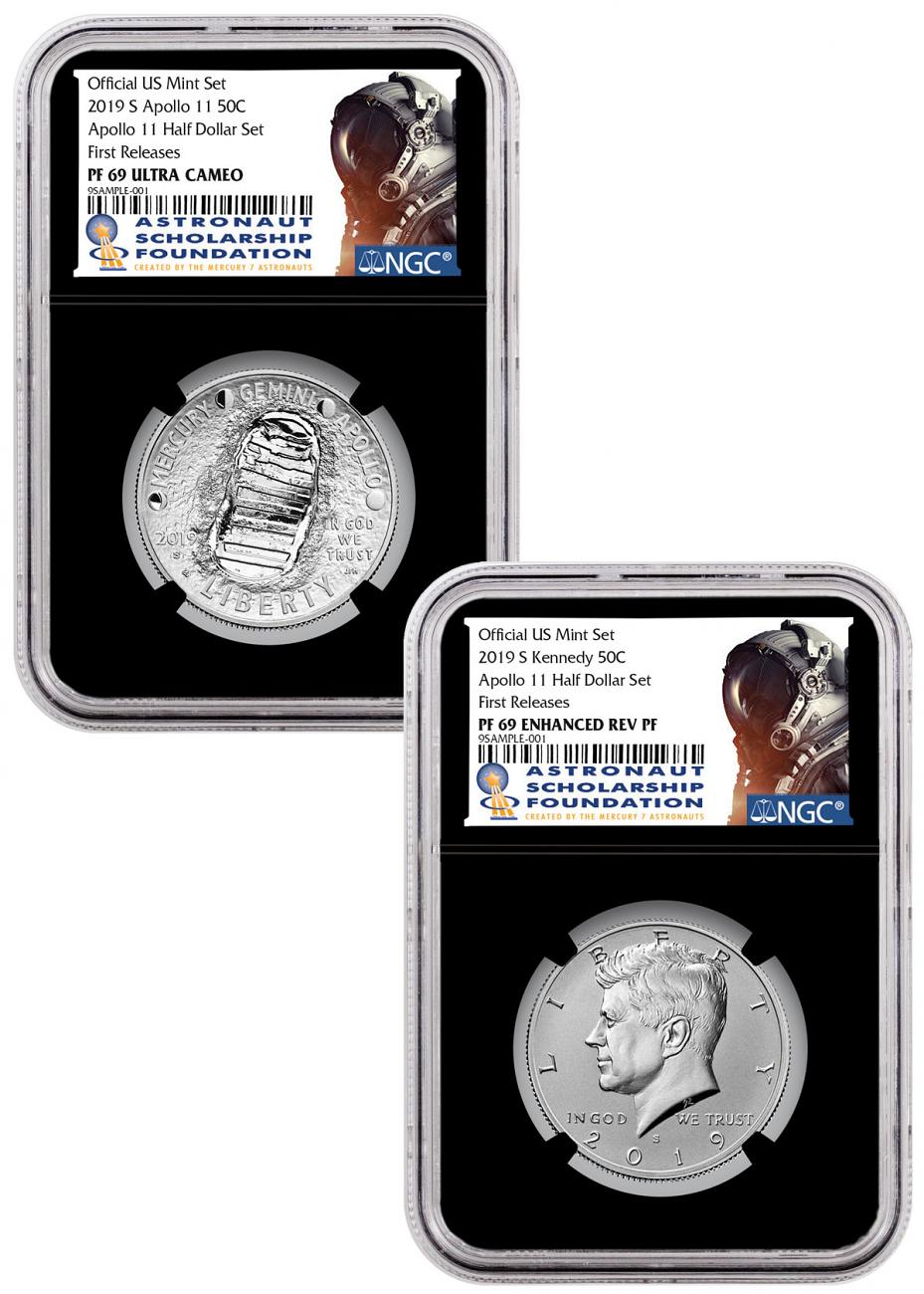 2019-S US Apollo 11 50th Anniversary 2-Coin Commemorative Clad Half Dollar Proof + Enhanced Reverse Proof Set NGC GEM Proof + PF69 FR Black Core Holder Astronaut Scholarship Foundation Label