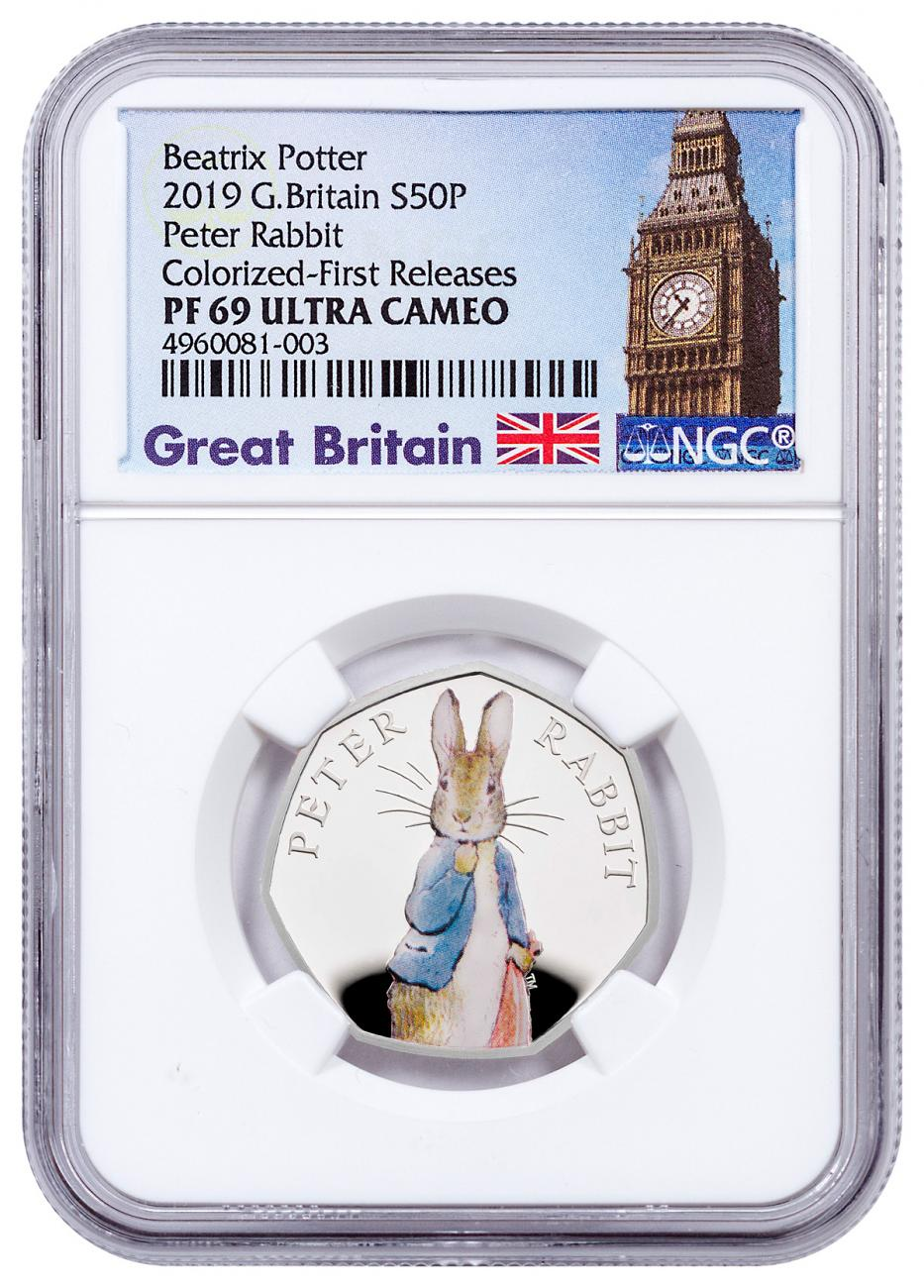 2019 Great Britain Beatrix Potter - Peter Rabbit 8 g Silver Colorized Proof 50p Coin NGC PF69 UC FR Exclusive Big Ben Label