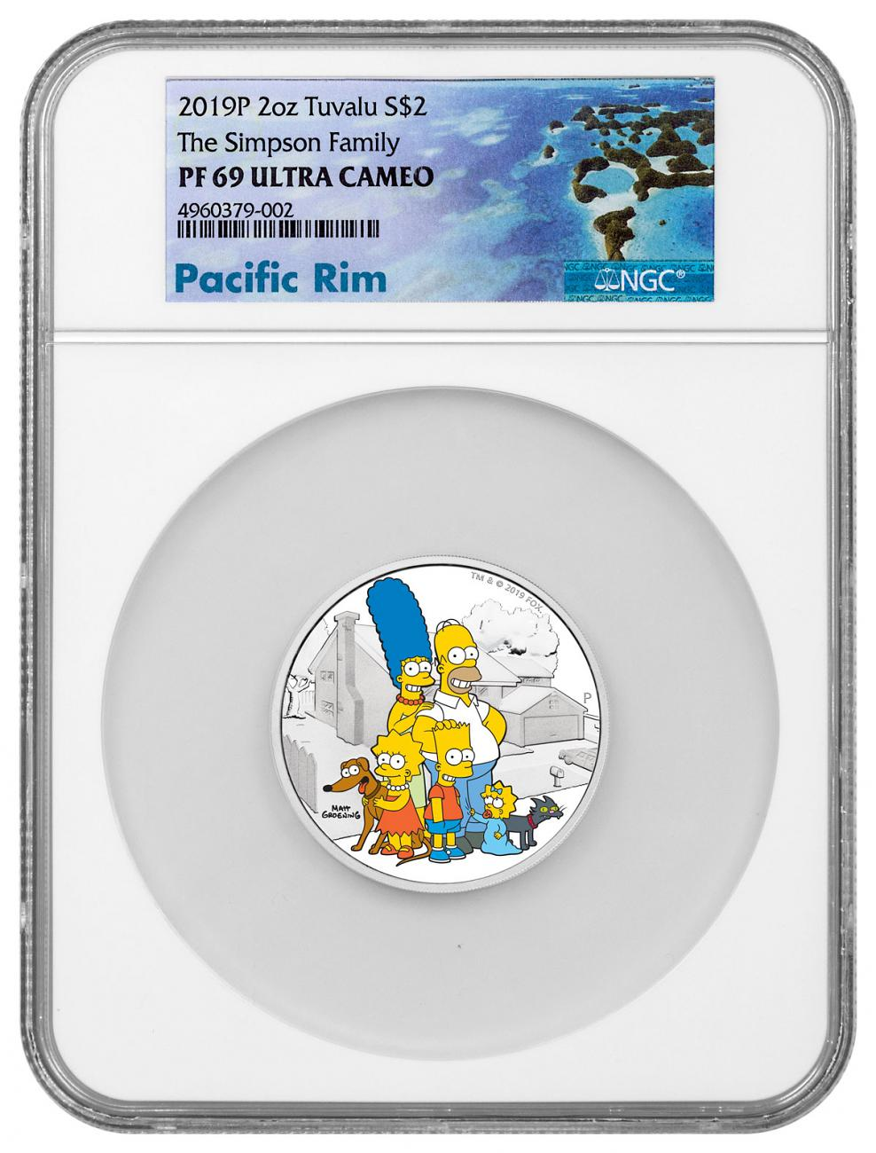 2019 Tuvalu The Simpsons - Family 2 oz Silver Colorized Proof $2 Coin NGC PF69 UC Exclusive Pacific Rim Label