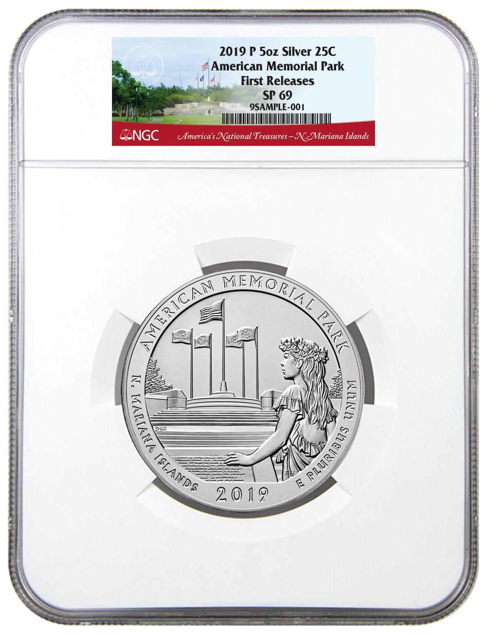 2019-P American Memorial Park 5 oz. Silver America the Beautiful Specimen Coin NGC SP69 FR