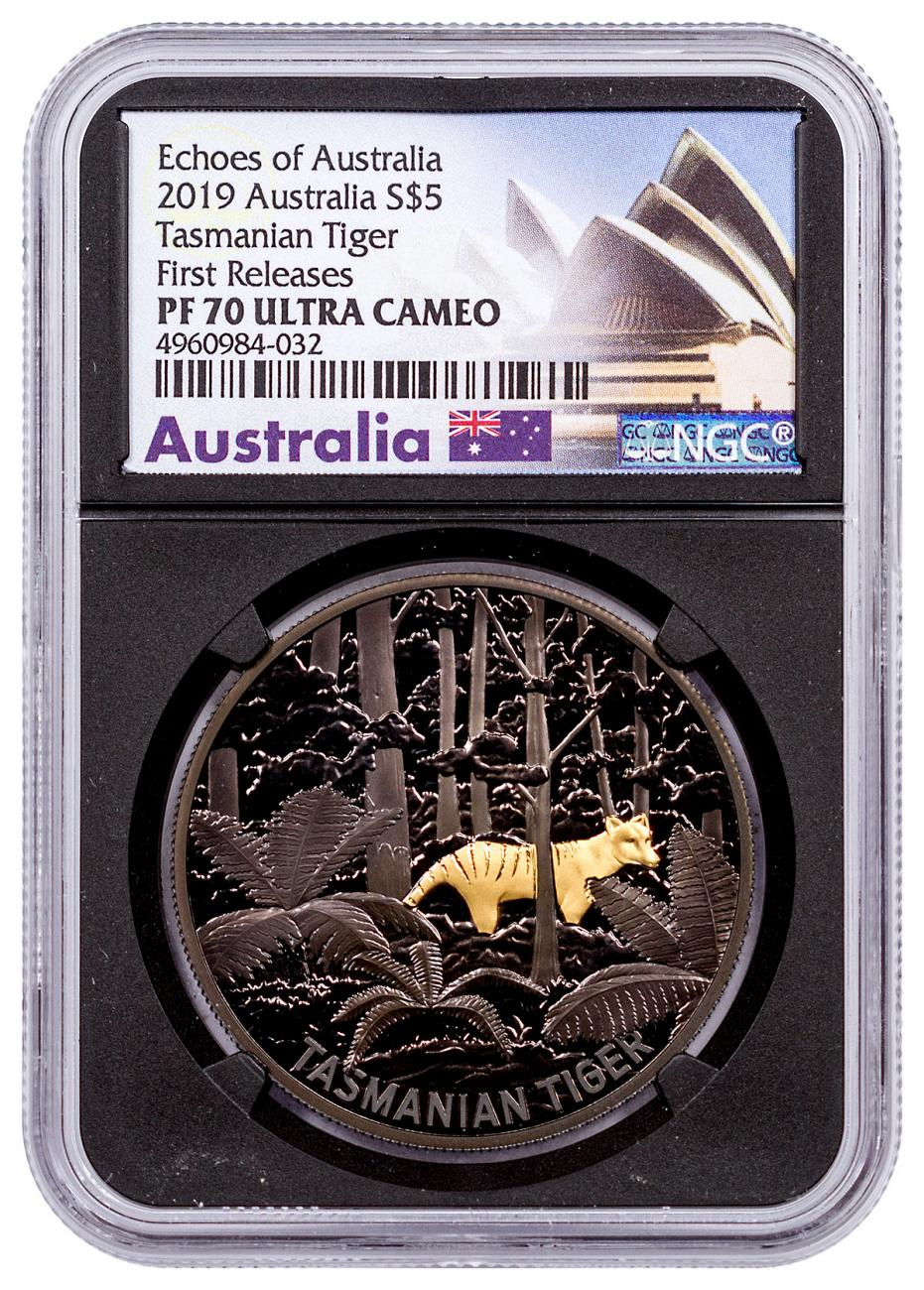 2019 Australia Echoes of Australia - Tasmanian Tiger 1 oz Silver Nickel-Plated Select Gold Proof $5 Coin NGC PF70 UC FR Black Core Holder Exclusive Australia Label