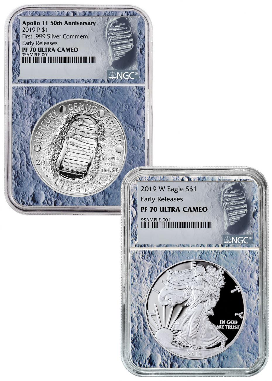 2019-P+W Apollo 11 50th Anniversary $1 Coin + Silver Eagle 2-Coin Set NGC PF70 ER Moon Core Holder Moon Label