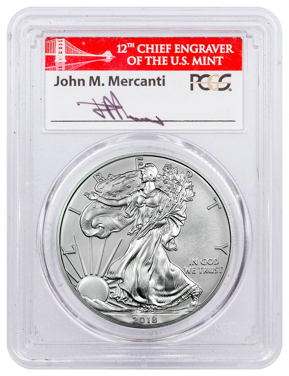 2018-W Burnished American Silver Eagle PCGS SP70 FS Mercanti Signed Label