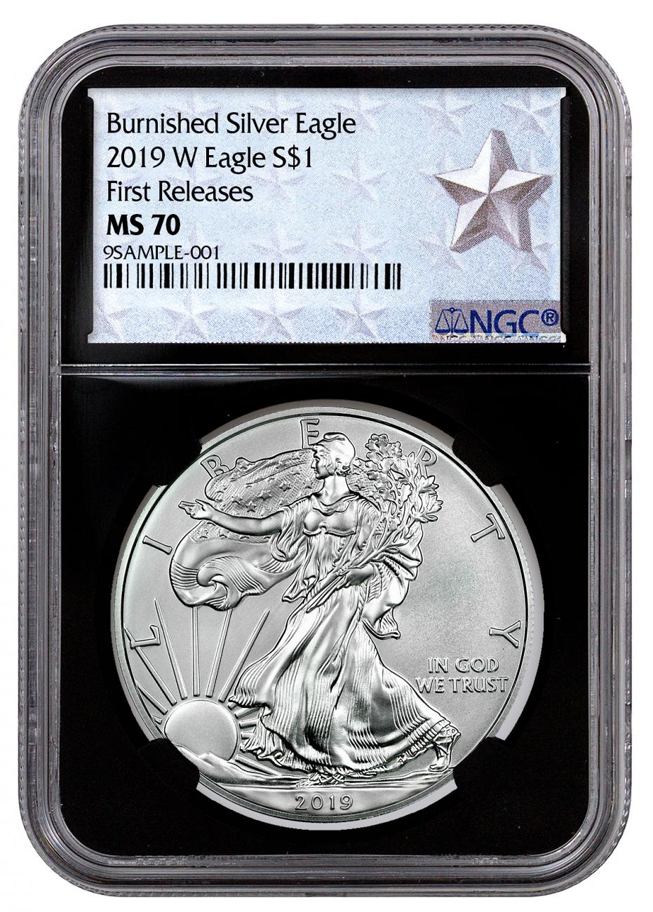 2019-W Burnished American Silver Eagle NGC MS70 FR Black Core Holder West Point Silver Star Label