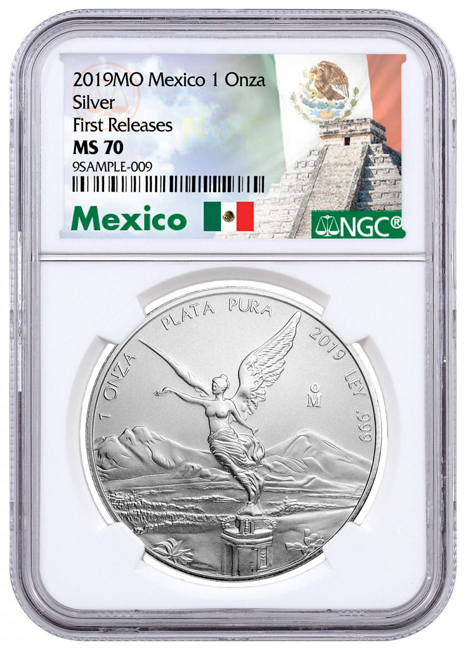 2019 Mexico 1 oz Silver Libertad 1 Onza Coin NGC MS70 FR Mexico Label