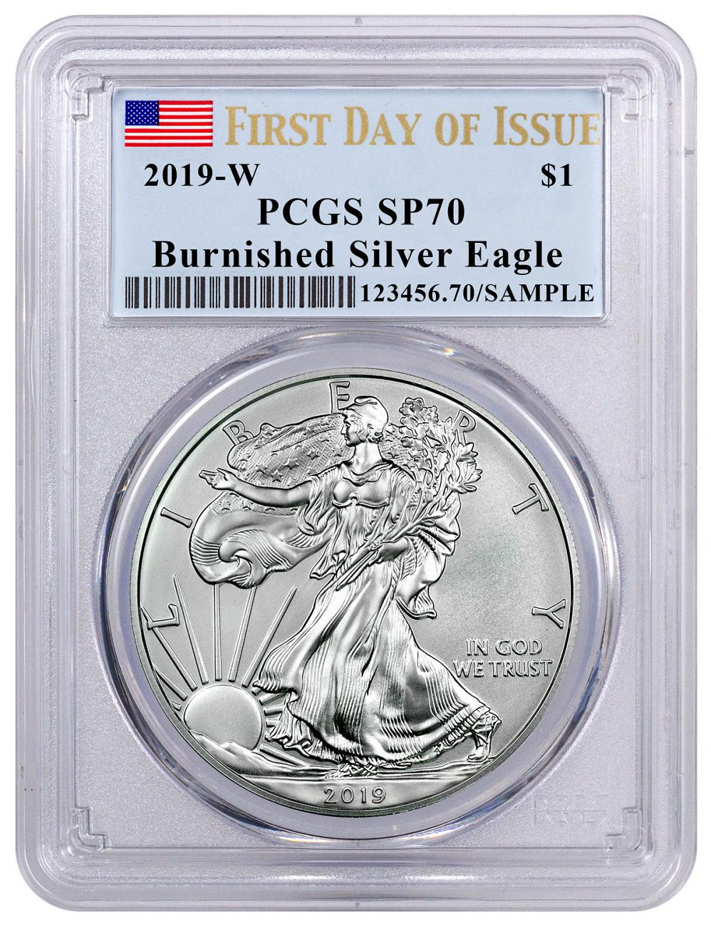 2019-W Burnished American Silver Eagle PCGS SP70 FDI Flag Label