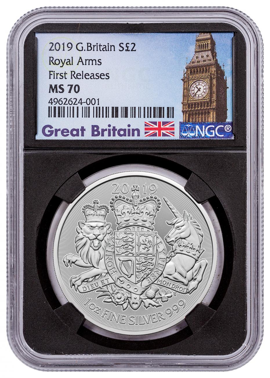 2019 Great Britain 1 oz Silver Royal Arms £2 Coin NGC MS70 FR Black Core Holder Great Britain Label