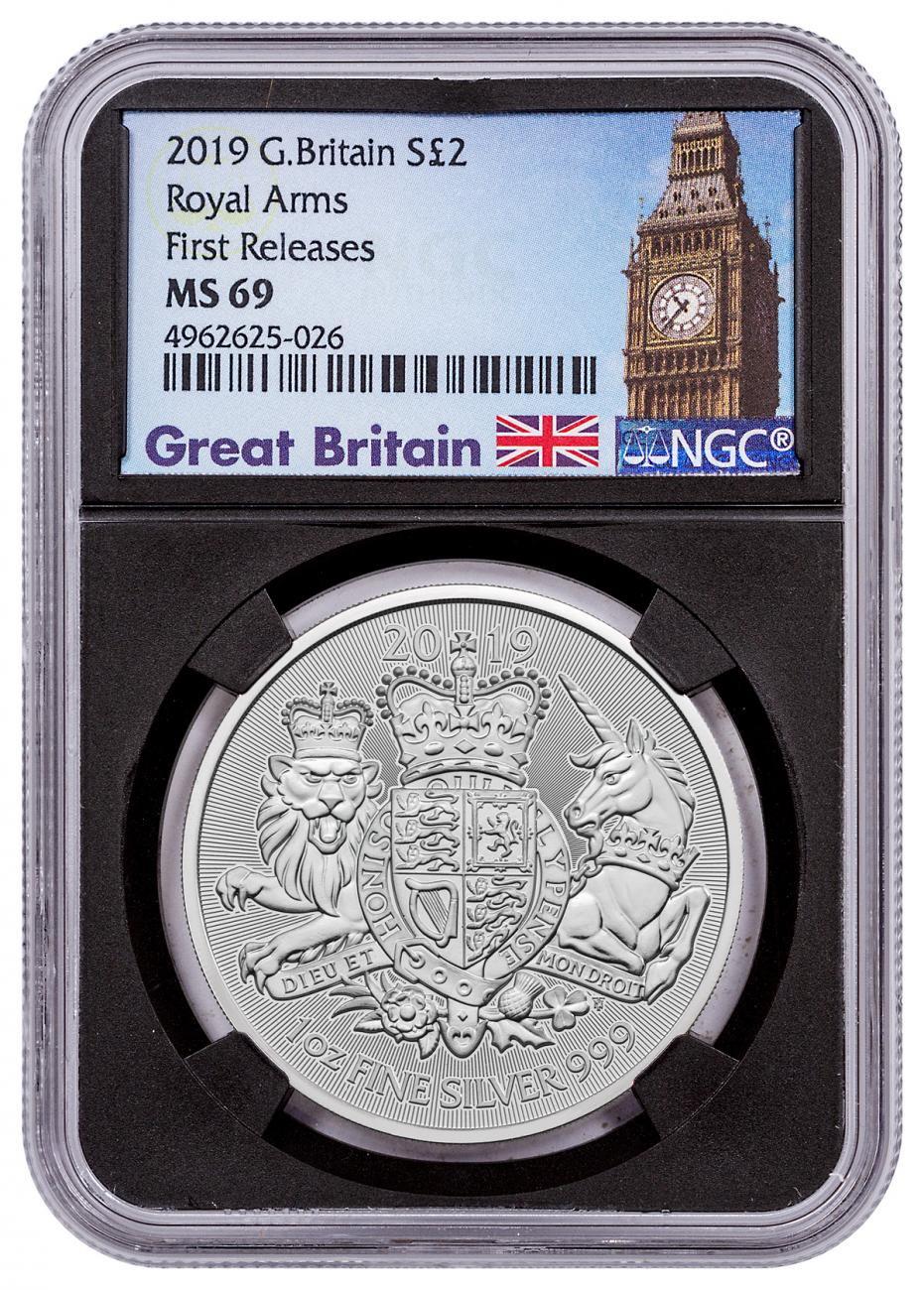 2019 Great Britain 1 oz Silver Royal Arms £2 Coin NGC MS69 FR Great Britain Label