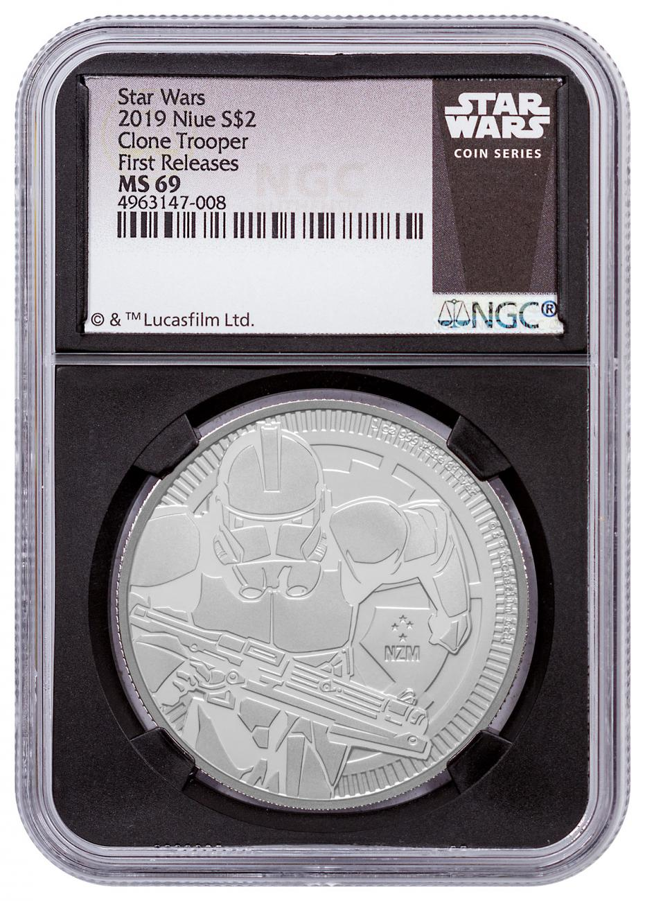 2019 Niue Star Wars Classic - Clone Trooper 1 oz Silver $2 Coin NGC MS69 FR Black Core Holder Exclusive Star Wars Label