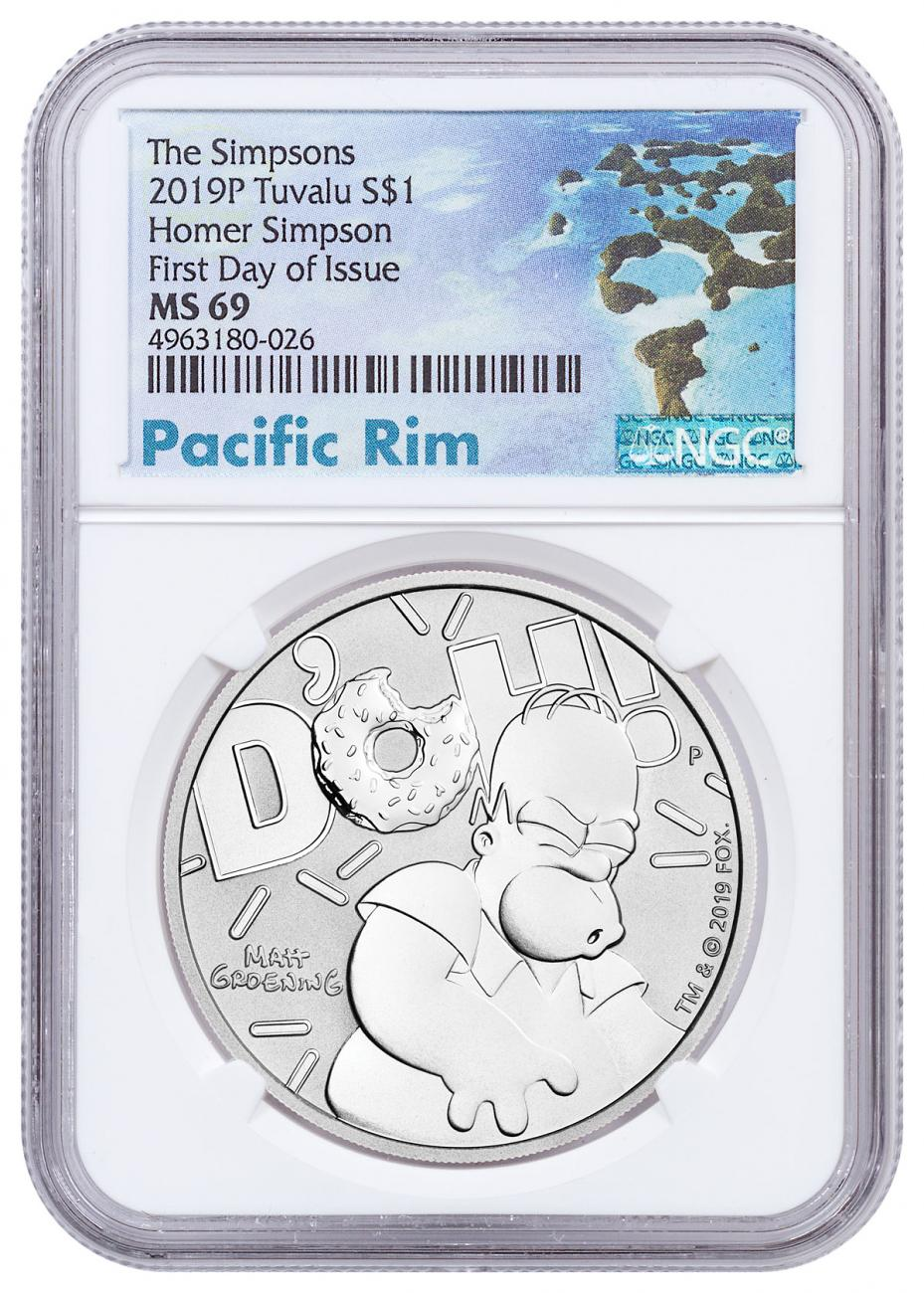 2019 Tuvalu The Simpsons - Homer 1 oz Silver $1 Coin NGC MS69 FDI Exclusive Pacific Rim Label