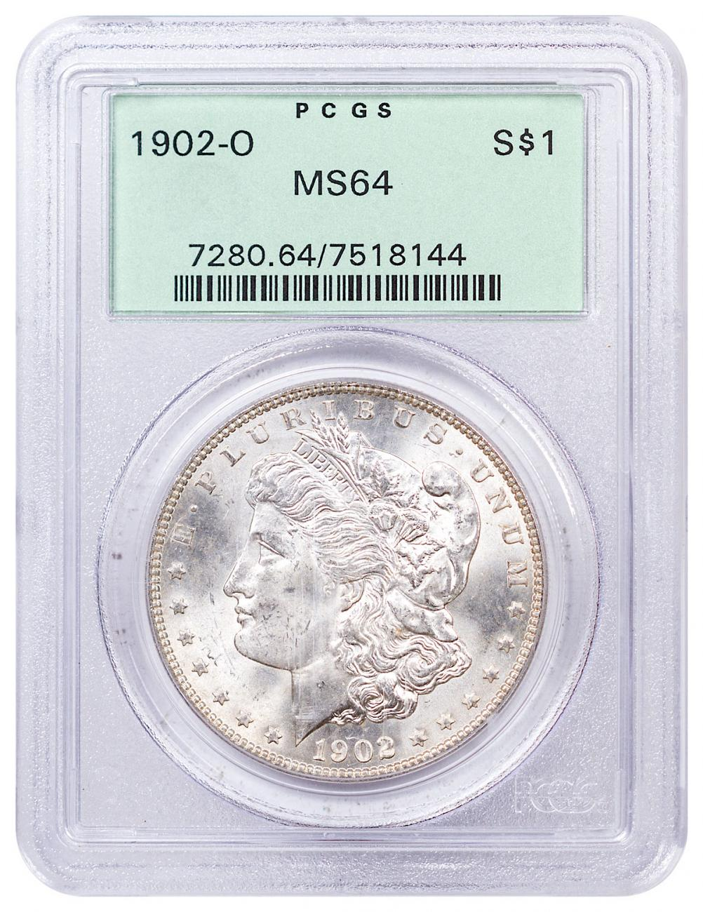 1902-O Morgan Silver Dollar PCGS MS64 Old Green Holder