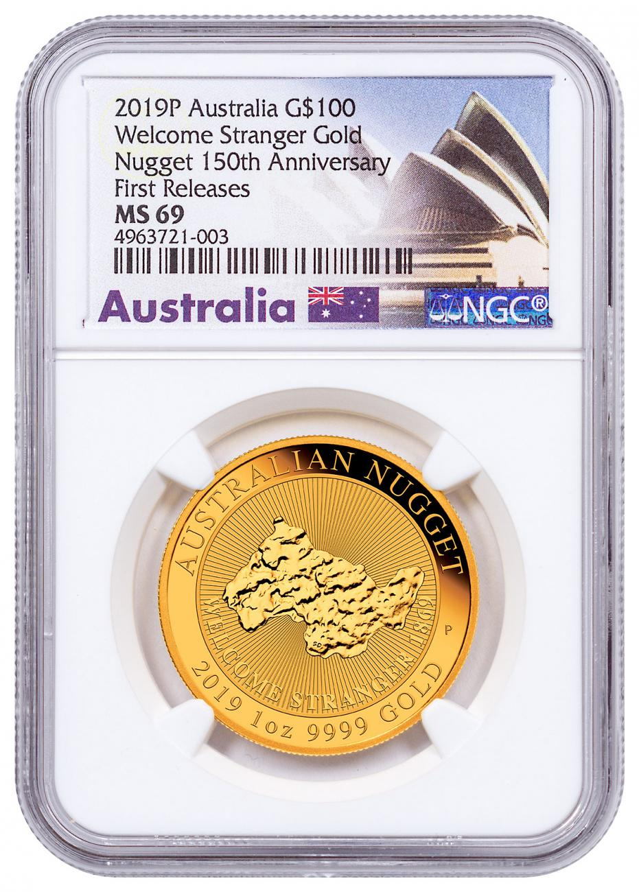 2019-P Australia Gold Nugget - Welcome Stranger $100 Coin NGC MS69 FR Opera House Label