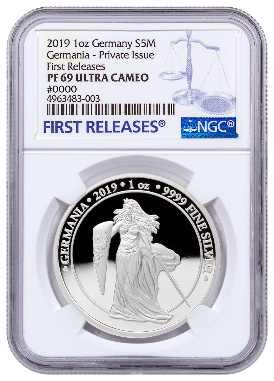 2019 Germania Mint 1 oz Silver Germania Round NGC PF69 UC FR