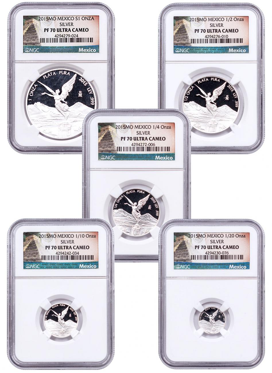 2015 Mexico Silver Libertad Proof 5-Coin Set NGC PF70 UC (Exclusive Label)
