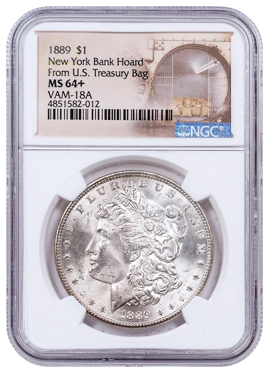 1889 Morgan Silver Dollar From the New York Bank Hoard NGC MS64+ VAM-18A