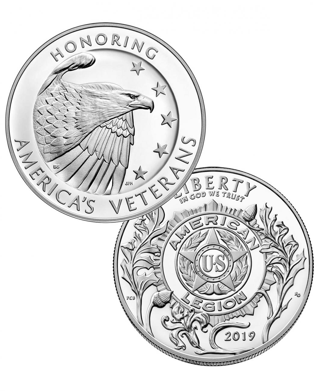 2-Piece Set - 2019-P American Legion 100th Anniversary Commemorative Silver Dollar and Medal Set GEM Proof