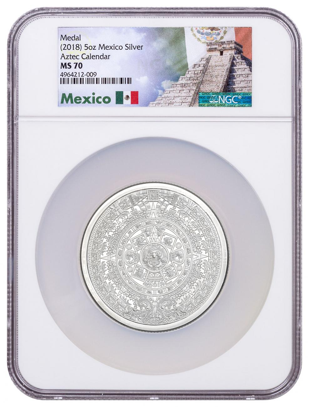 Golden State Mint Aztec Calendar 5 oz Silver Round NGC MS70 Exclusive Mexico Label