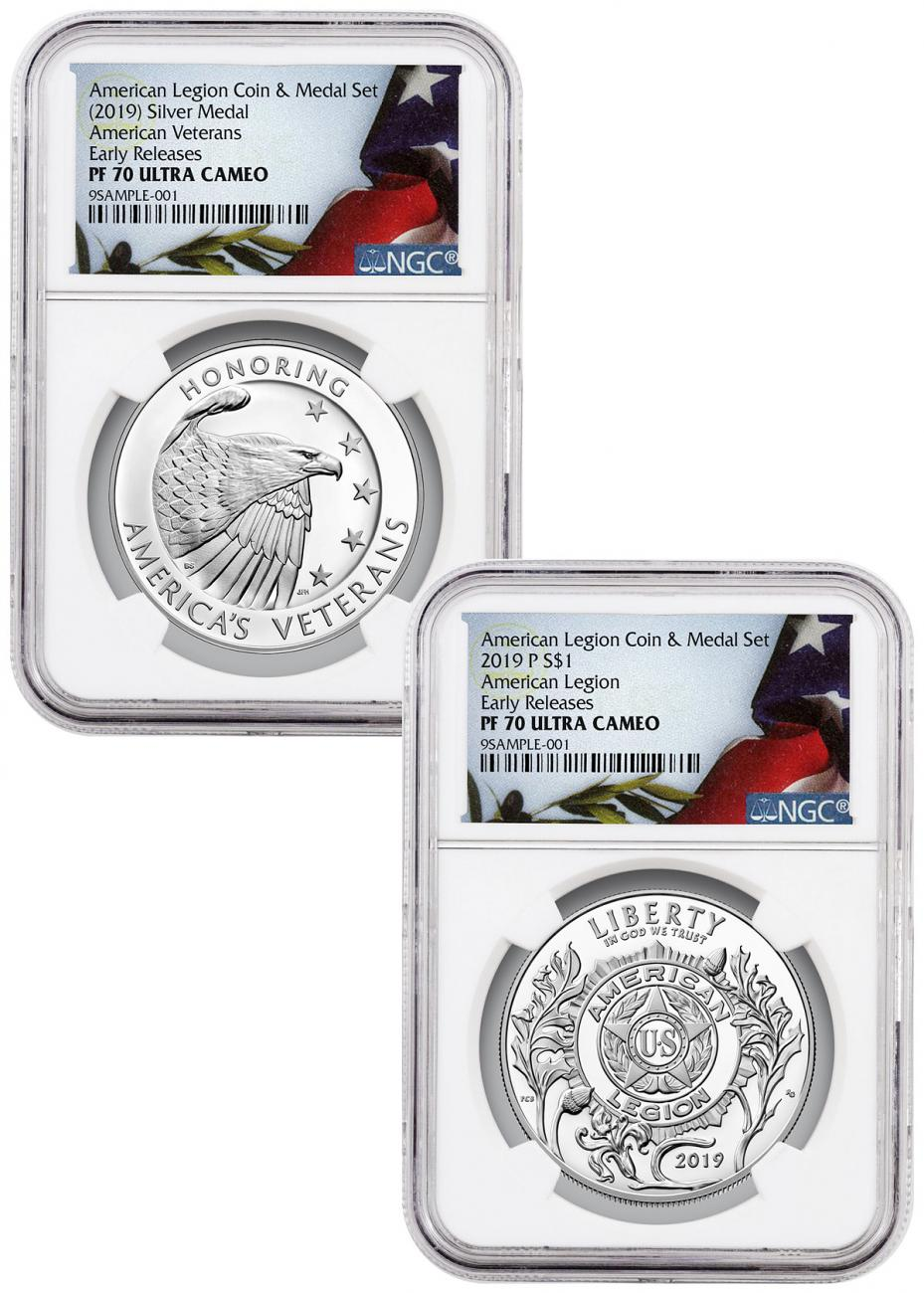 2-Piece Set - 2019-P American Legion 100th Anniversary Commemorative Silver Dollar and Medal NGC PF70 UC ER Liberty Flag Label