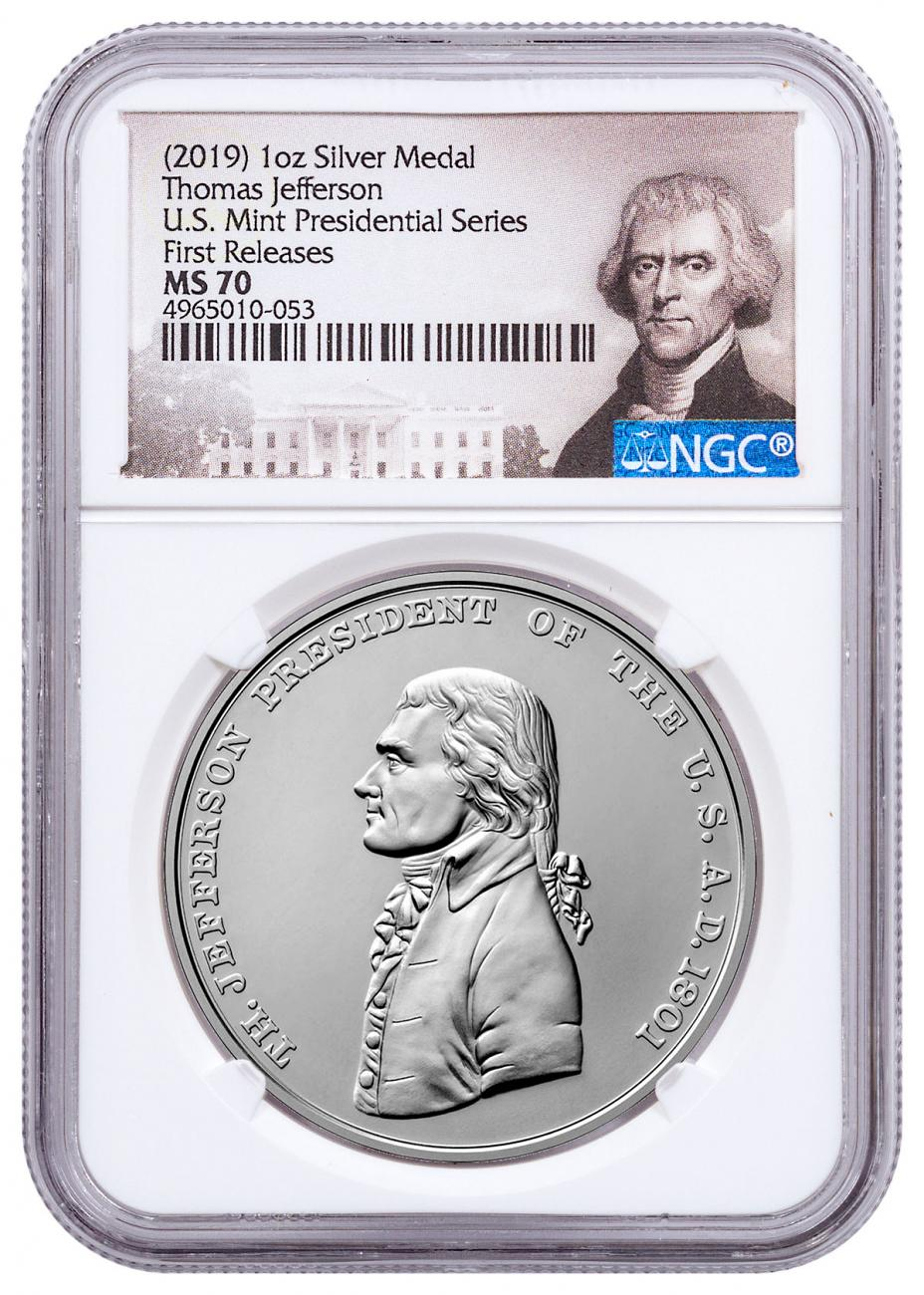 2019 United States Presidential Medal Thomas Jefferson 1 oz Silver Matte Medal NGC MS70 FR Jefferson Label