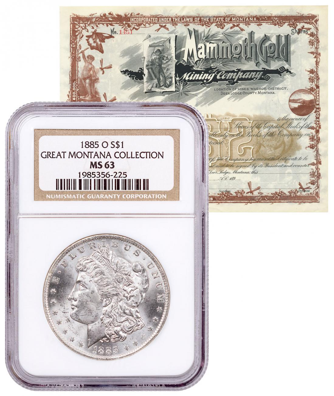 1885-O Silver Morgan Dollar NGC MS63 Mammoth Mining Stock Certificate