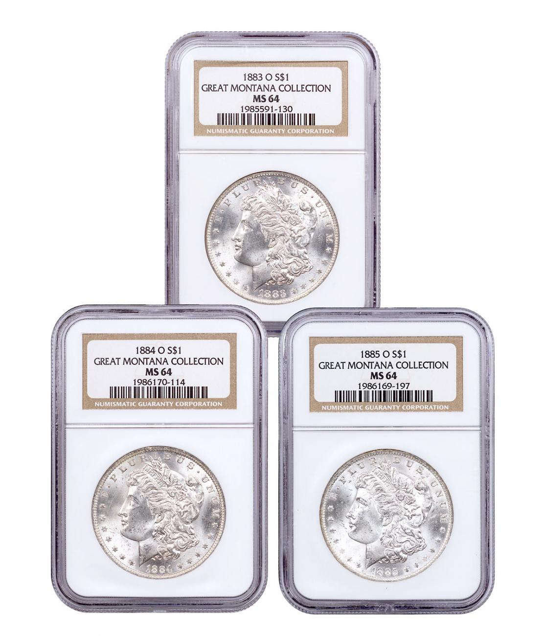 1883-1885-O Silver Great Montana Collection Morgan Dollar NGC MS64 Mammoth Mining Stock Certificate