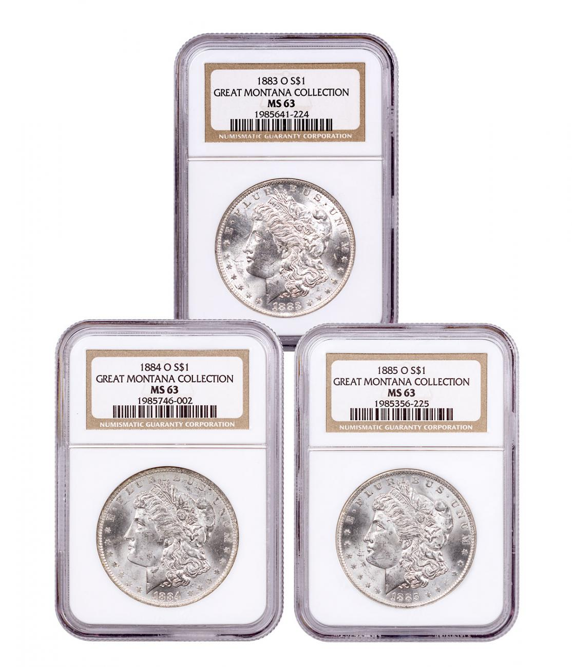 1883-1885-O Silver Great Montana Collection Morgan Dollar NGC MS63 Mammoth Mining Stock Certificate