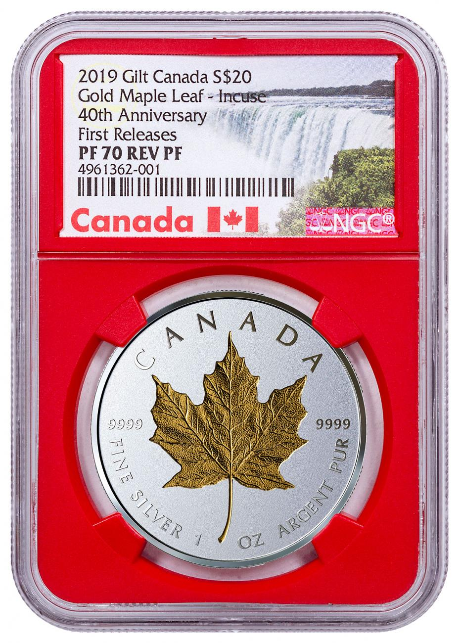 2019 Canada 1 oz Silver Maple Leaf - Incuse Gilt Reverse Proof $20 Coin NGC PF70 FR Red Core Holder Exclusive Canada Label