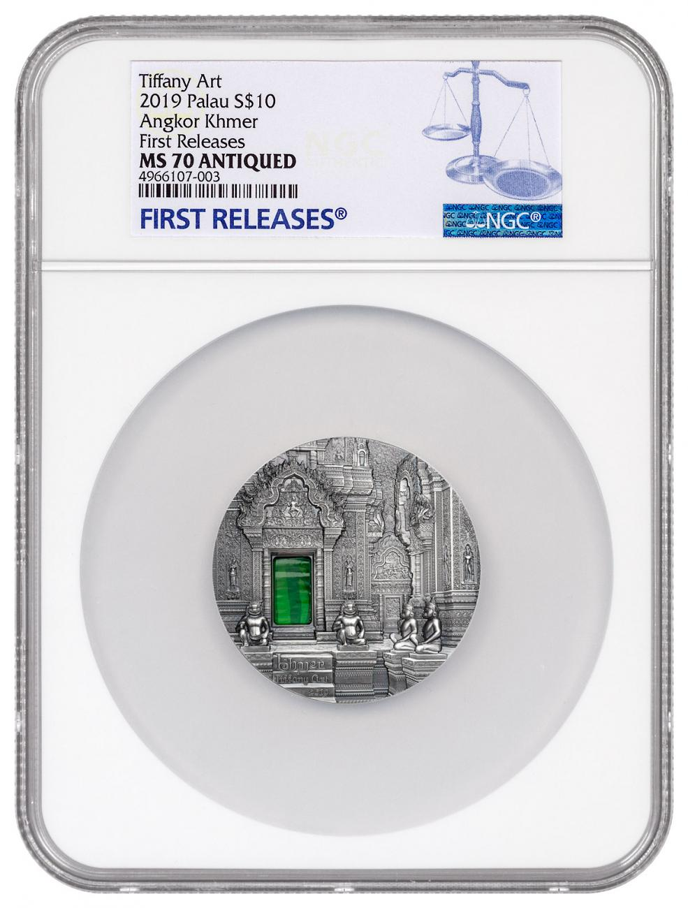 2019 Palau Tiffany Art - Khmer Ultra High Relief 2 oz Silver Antiqued $10 Coin NGC MS70 FR